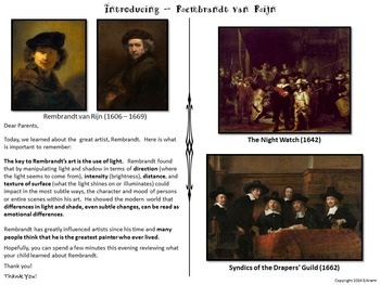 Introducing Rembrandt - Art History, Teaching Script, Activity, & Giveaway Sheet