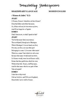 Introducing Shakespeare - Notes, Webquest, and Language