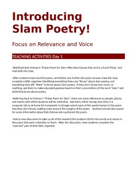 Introducing Slam Poetry: 2-Day Lesson Plan on Voice and Relevancy