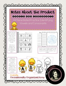 UPDATED!   Introducing Vowels and Consonants-Differentiated and NO PREP