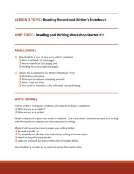 INTRODUCING WRITERS NOTEBOOKS TO YOUR STUDENTS - Lesson Plan