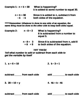 Introducing Variable Equations notes and assignments