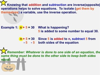 Introducing Variable Equations notes and assignments on Smartboard
