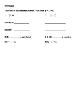 Introducing and Graphing Linear Equations Notes and Assignments