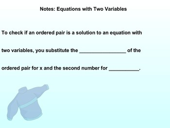 Introducing and Graphing Linear Equations Notes and Assign