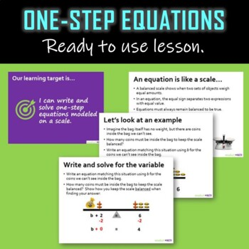 Solving one-step equations on a balanced scale-LESSON (editable presentation)
