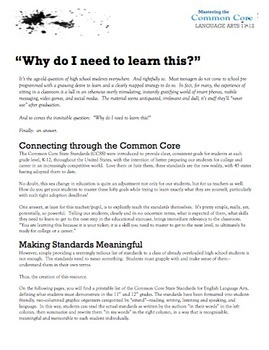 Introducing the Common Core to High School Students (Language Arts 11-12)