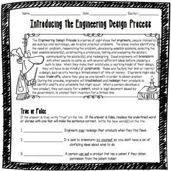 Introducing the Engineering Design Process Worksheet