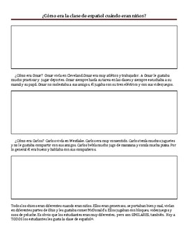 Introducing the Imperfect tense with a reading activity!!!