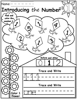 Introducing the Numbers 1-5 Find, Color, & Trace