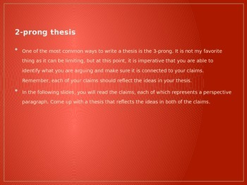 Introducing the two-prong thesis