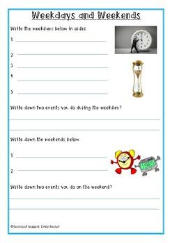 Introducing weekdays and weekends worksheet.