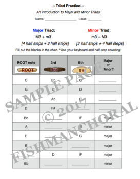 Introducing Major and Minor Triads - Practice and Visual Printouts