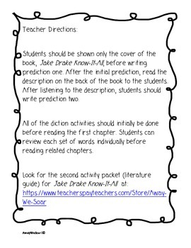 Introduction Activities for Jake Drake Know It All Chapter Book