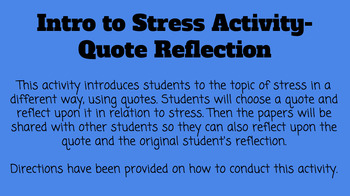 Introduction Activity for Stress Unit/Lesson