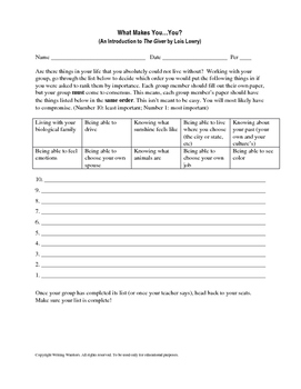 Introduction Activity To The Giver With Poetry Assignment By