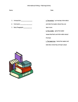 Introduction, Body, Conclusion - Matching Activity for Informational Writing