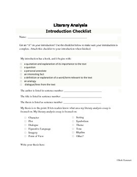 Introduction Checklist for Literary Analysis Essays