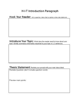 Introduction Graphic Organizer
