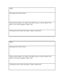 Introduction Graphic Organizer for an Informative Essay