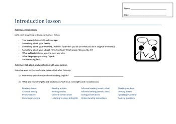 Introduction Lesson - ESL / TEFL / TESOL- Get to know your students.