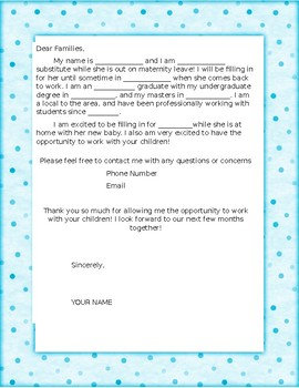 Introduction Letter - Long Term Sub