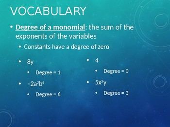 Introduction Notes to Polynomials & Adding/Subtracting