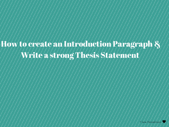Introduction Paragraphs & Thesis Statement Writing