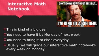 Introduction Power Point Math 8 Day 1