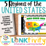 Link & Think Digital Guide- 5 Regions of the U.S. {Google Classroom Compatible}