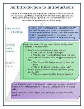 Introduction Strategy Handout for Building Background Information