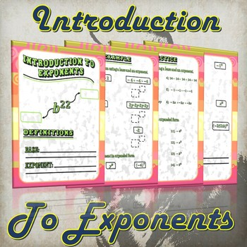 Introduction To Exponents - (Guided Notes and Practice)