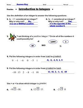 Introduction To Integers - Notes & Practice
