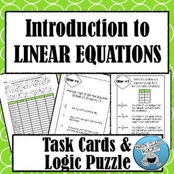 INTRODUCTION TO LINEAR EQUATIONS - LOGIC PUZZLE MATH