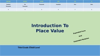 Introduction To Place Value -- Expanded Form and Expanded Notation
