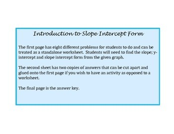 Introduction To Slope Intercept Form
