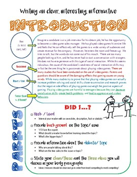 Introduction Tool- Argument or Informational Writing