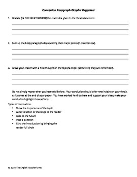 Introduction and Conclusion Paragraphs: Class Notes and Graphic Organizers