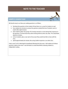 To Kill a Mockingbird Introduction Activity with Questions and a Discussion
