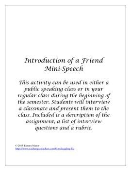 Introduction of a Friend Mini-Speech