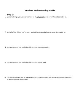"""Introduction to #20Time in your classroom"""" Blogging, Research, and Writing"""