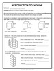 Introduction to 5th Grade Volume, Layering and Unit Cubes, 8 page lesson packet