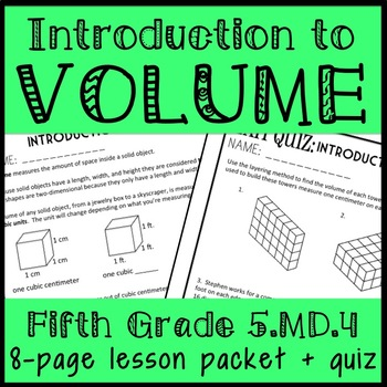 Introduction to 5th Grade Volume, Layering and Unit Cubes ...