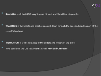 Introduction to 6th grade religion: Old Testament