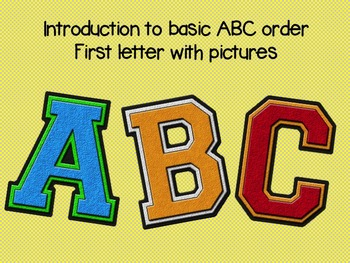 Introduction to ABC order - Using Pictures