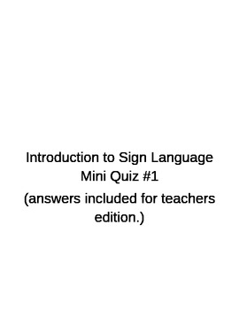 Introduction to ASL Quiz