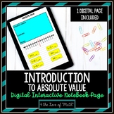 Introduction to Absolute Value Digital Interactive Notebook Page