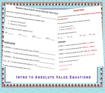 Introduction to Absolute Value Equations