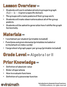 Introduction to Absolute Value Functions Lesson Plan