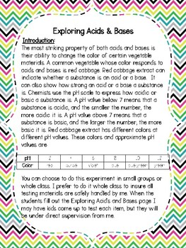 Introduction to Acids and Bases Science Experiment